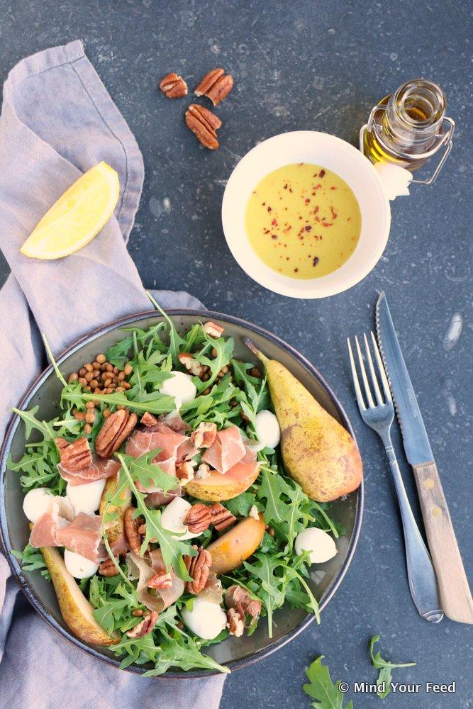 salade met linzen, herfst salade, salade recepten