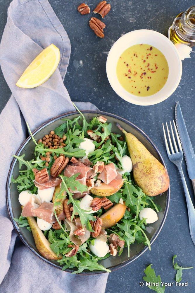 salade met linzen, herfst salade, lunch, salade recepten