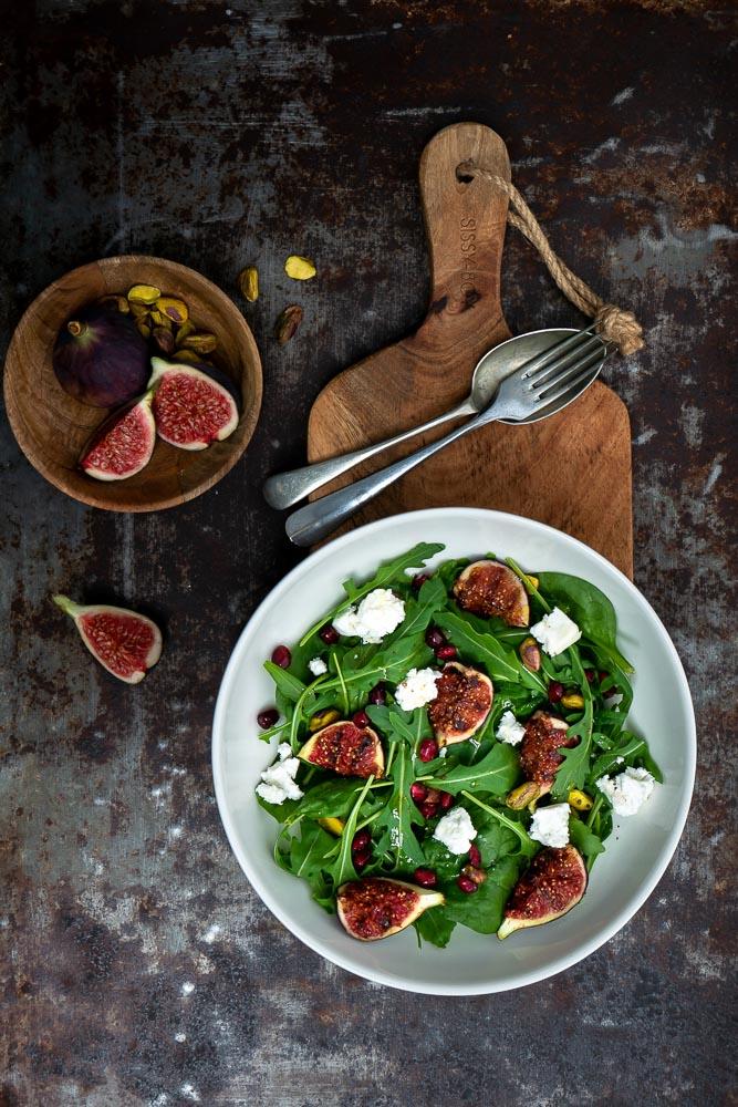 salade met vijgen en geitenkaas