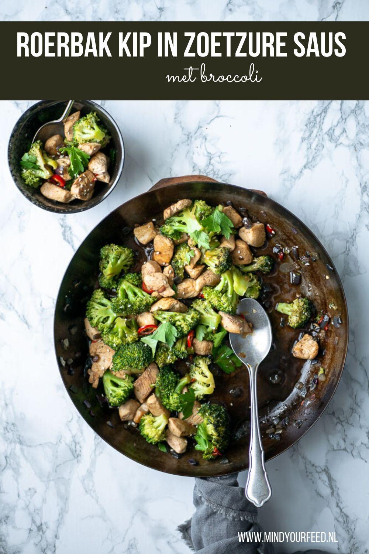 Oosterse roerbak kip in zoetzure saus met broccoli.