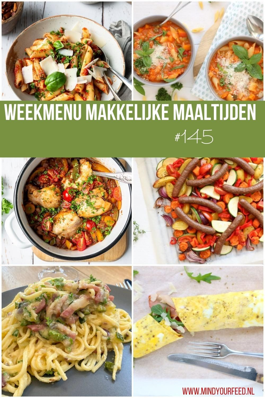 Inspiratie voor makkelijke maaltijd recepten? Ik zet een weekmenu voor je klaar. Allemaal lekkere, snelle en gezonde maaltijden voor doordeweeks. De vraag wat eten we vandaag wordt zo wel heel makkelijk beantwoord! #weekmenu #makkelijke maaltijd