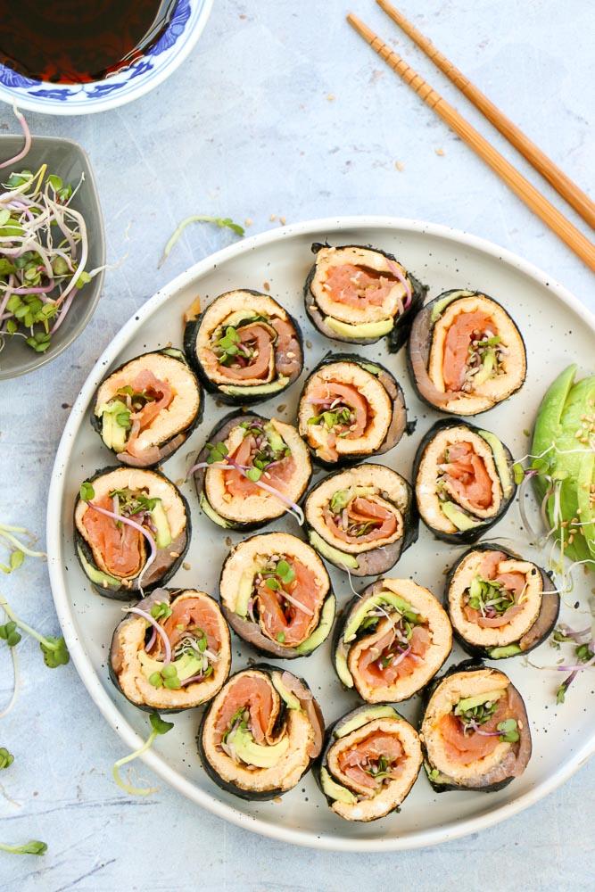omelet sushi rolletjes