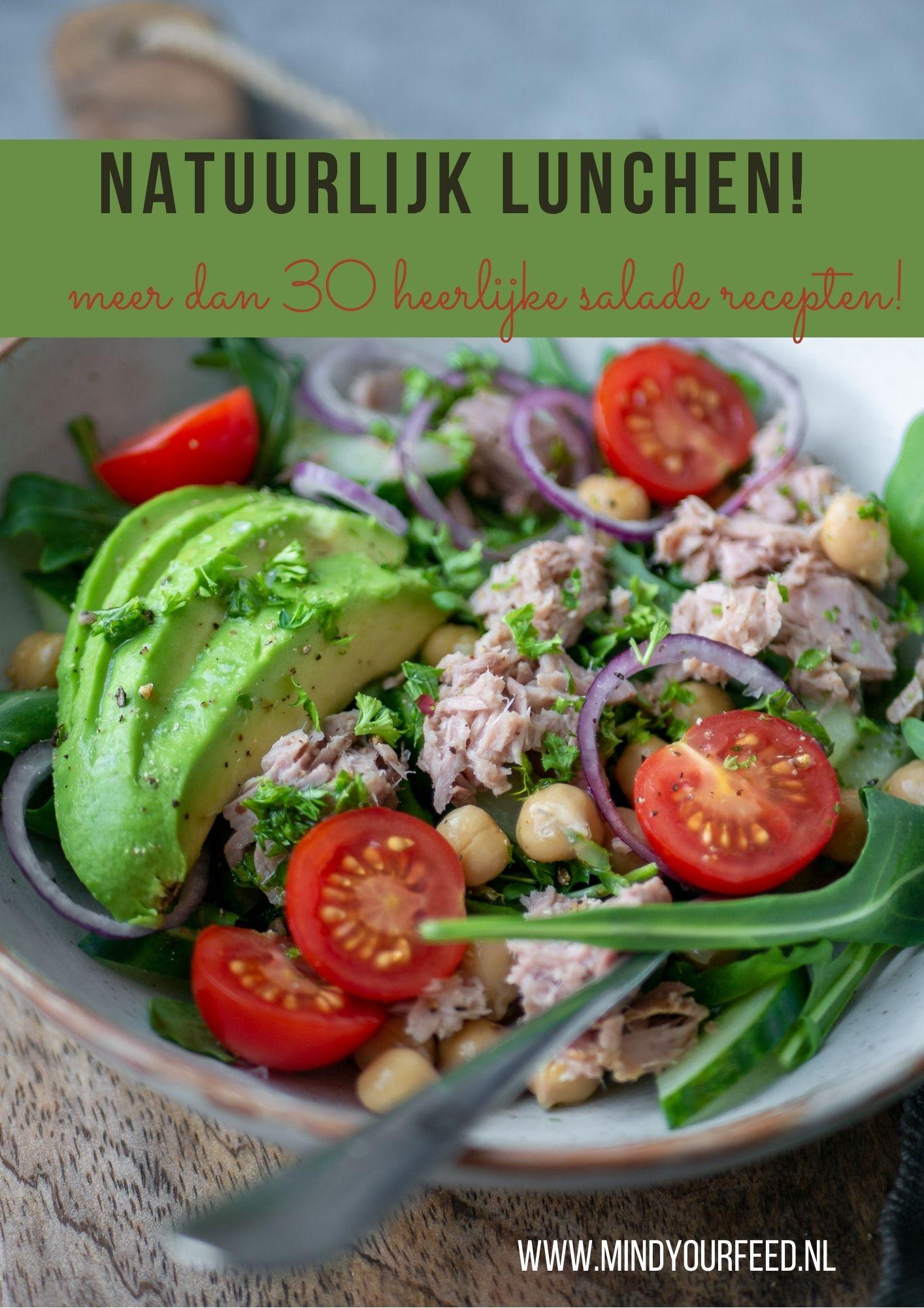 Natuurlijk lunchen! Meer dan 30 salade recepten. Lunchen met salade is veelzijdig en lekker gezond. Salades kunnen het hele jaar door. Inspiratie voor lunch salades. Ebook.
