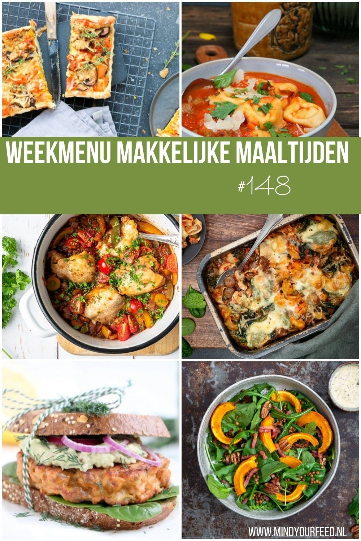 Inspiratie voor makkelijke maaltijd recepten? Ik zet een weekmenu voor je klaar. Allemaal lekkere, snelle en gezonde maaltijden voor doordeweeks. De vraag wat eten we vandaag wordt zo wel heel makkelijk beantwoord! #weekmenu #makkelijkemaaltijden