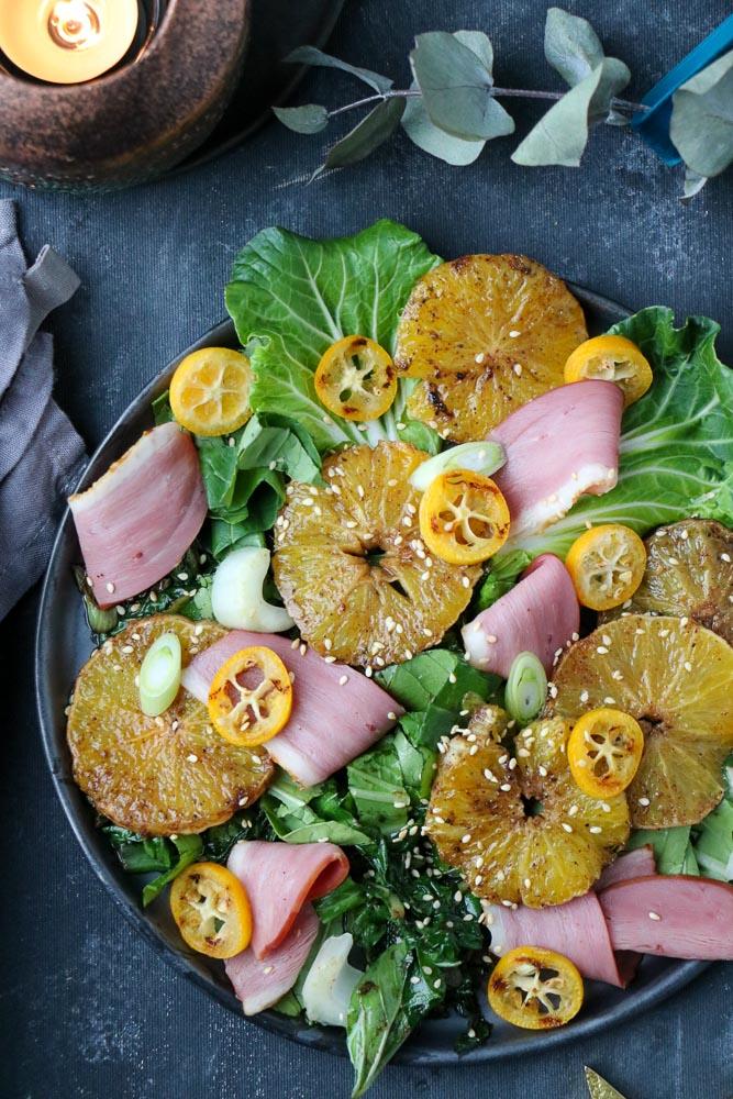 salade met gerookte eendenborst, salade eend, salade voorgerecht, salade met eend en sinaasappel