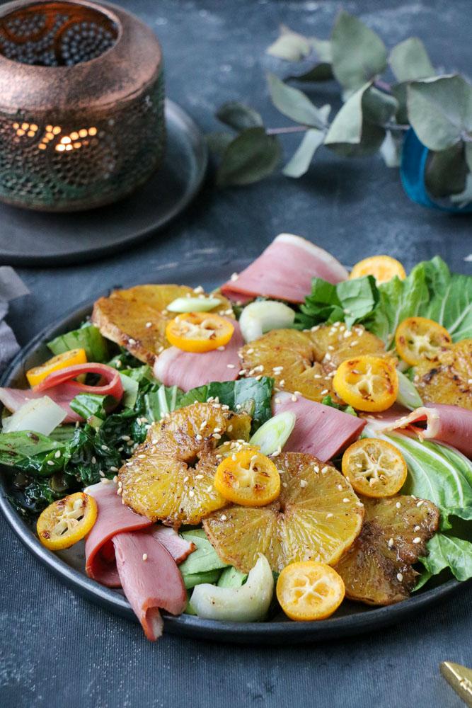 salade met gerookte eendenborst, salade eend, salade eendenborst, sinaasappel, voorgerecht, kerst