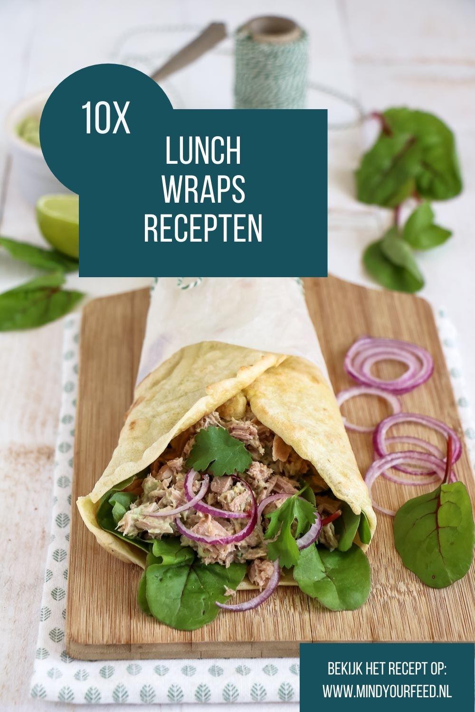Lunch wraps recepten, wraps voor de lunch. Makkelijke wraps, zelfgemaakt of uit de winkel, belegd met tonijn, zalm, kip of groenten. Lunchen zonder brood, inspiratie voor de lunch.