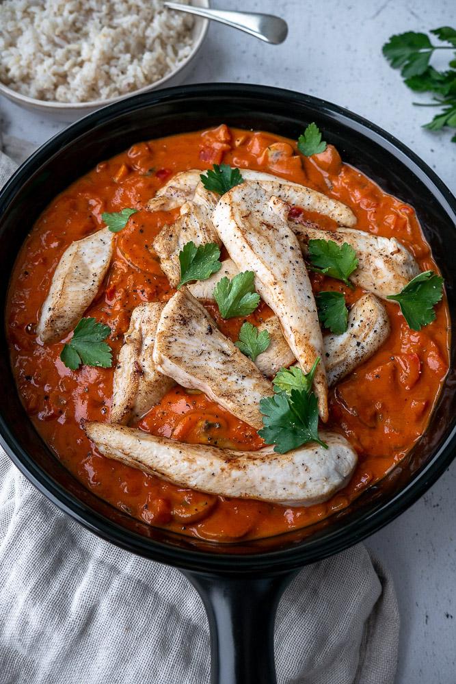 Stroganoff, kip recepten, makkelijk recept, gezond, rijst