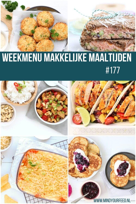 Weekmenu makkelijke maaltijden, eetplanning voor een hele week gezonde recepten, makkelijk, lekker en snel.