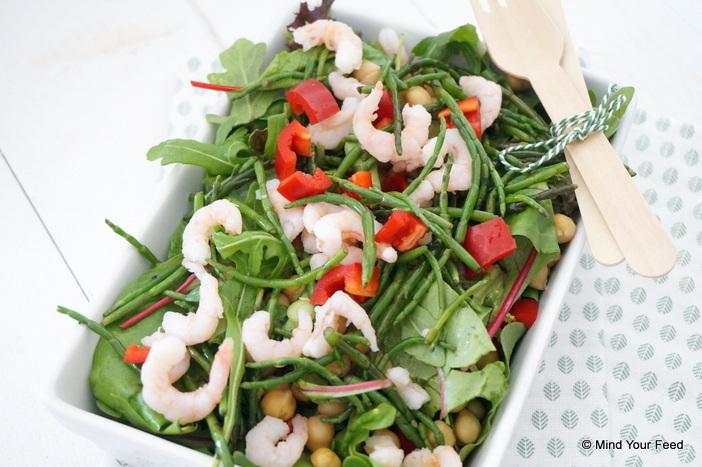 Salade met garnalen en zeekraal