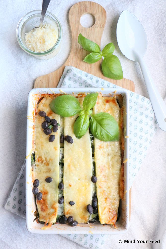 groentelasagne met zwarte bonen
