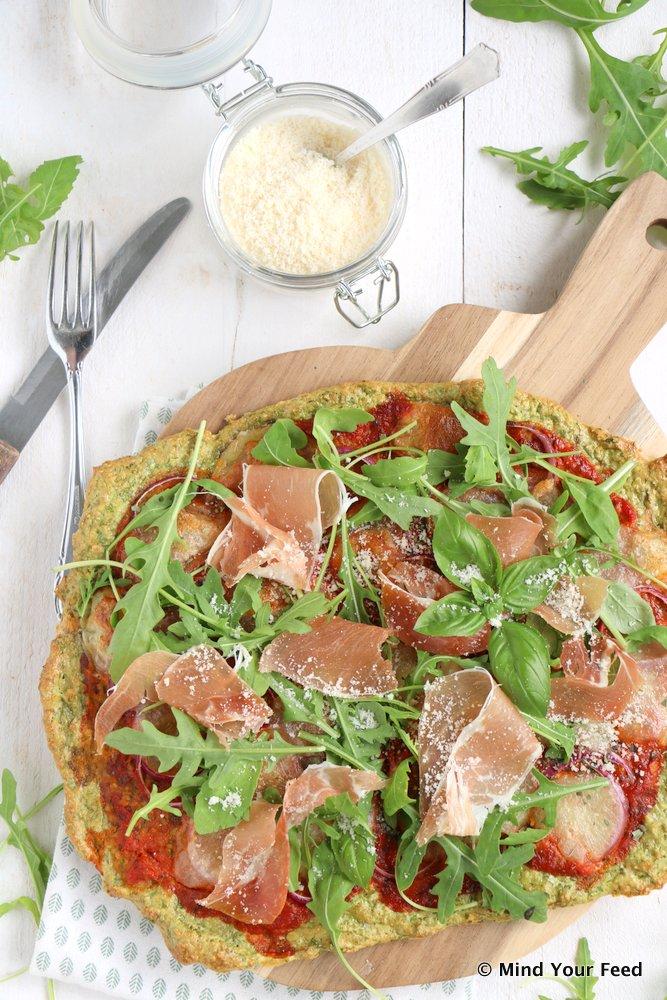 havermout pizza met spinazie