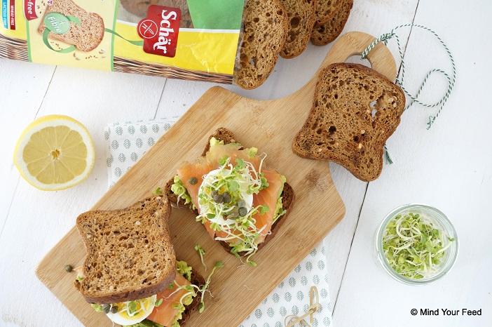 Sandwich zalm en avocado