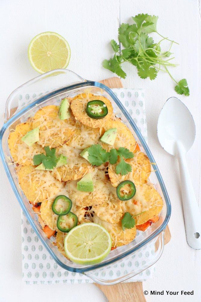 zoete aardappel nacho ovenschotel