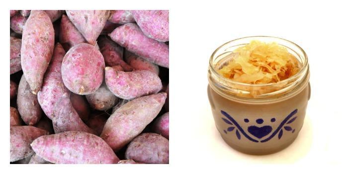 Zuurkoolstamppot met zoete aardappel